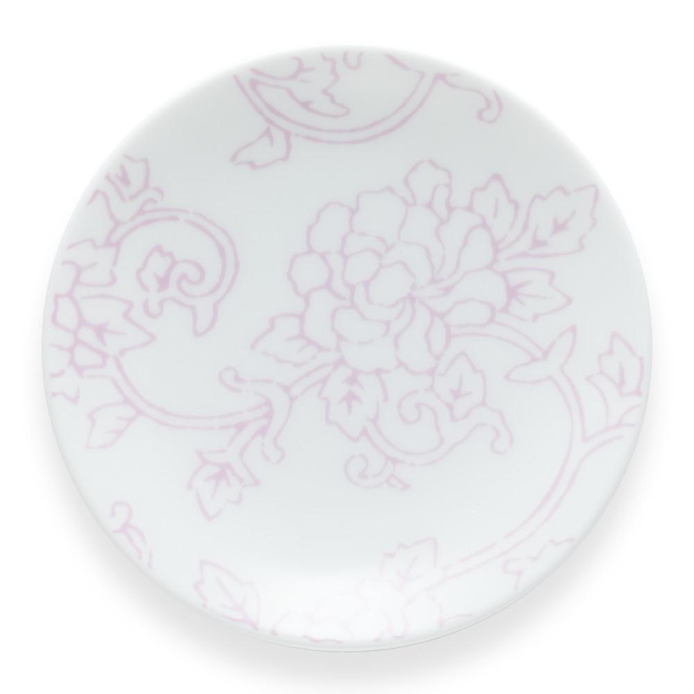 唐長文様 豆皿 影牡丹唐草(ピンクとグレージュ)