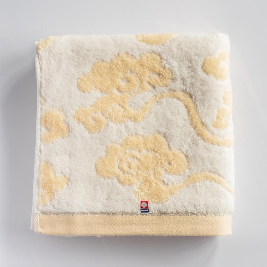 今治謹製 雲母唐長タオル 木箱入り ロングフェイスタオル1枚・コンパクトバスタオル1枚 天平大雲(ベージュ)