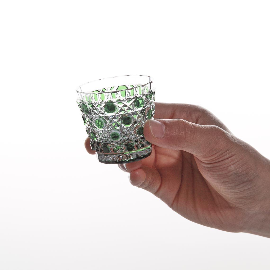 緑被籠目文切立盃 (みどりぎせ かごめもん きったてはい)