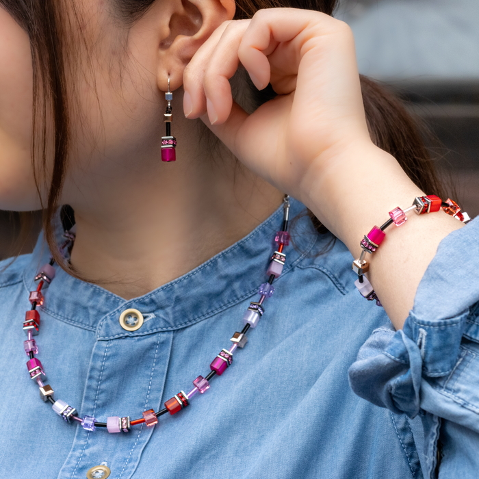キューブネックレス 赤/紫