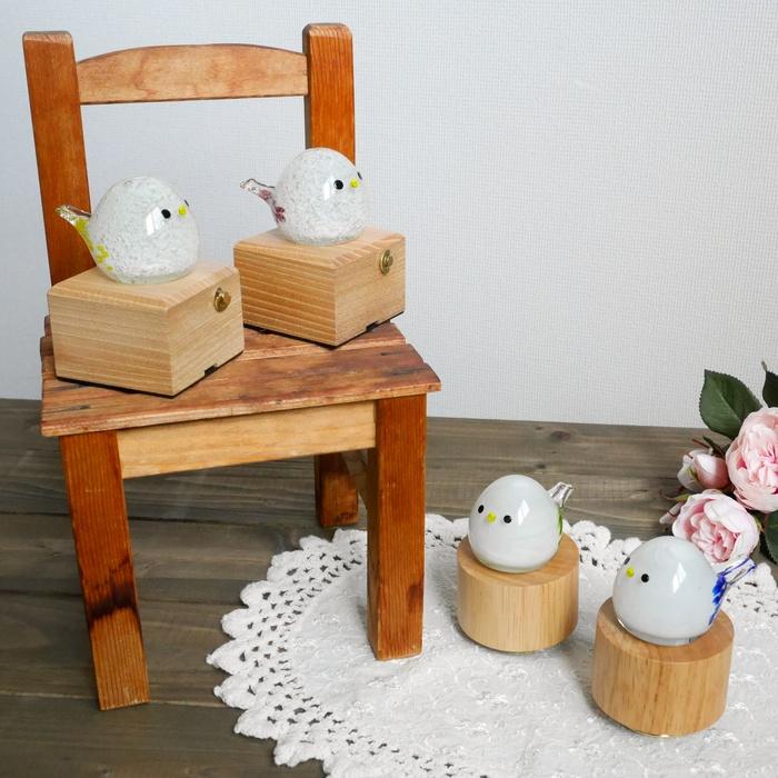 木製回転 シマエナガオルゴール