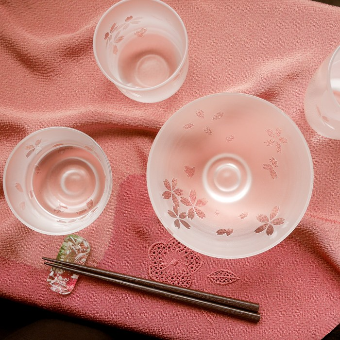 白露桜 冷茶グラス(木箱付)