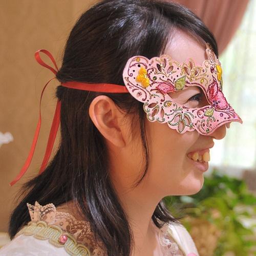 ハーフマスク 花刺繍