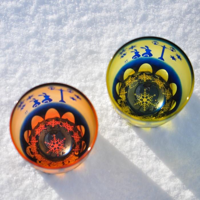 冬限定 月見うさぎ万華鏡万能グラス 運河雪
