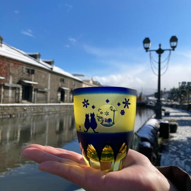 冬限定 月見ねこ万華鏡万能グラス 運河雪