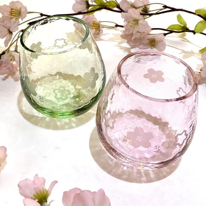 耐熱性北染 スインググラス 桜柄