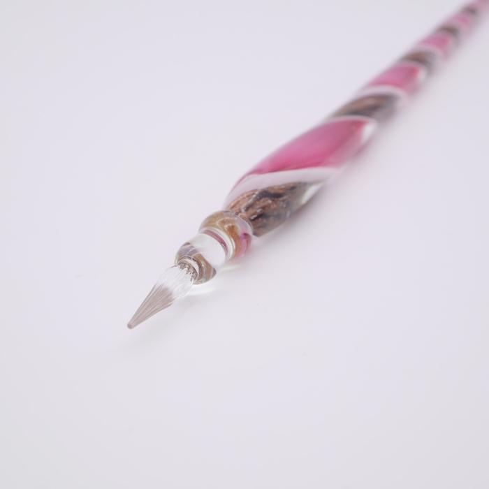 レースガラスペン ピンク