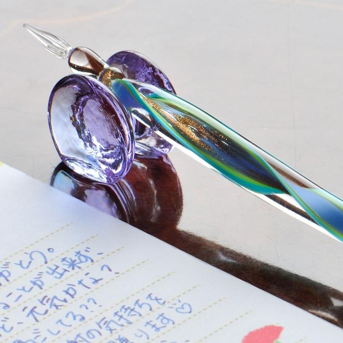 レースガラスペン 水色
