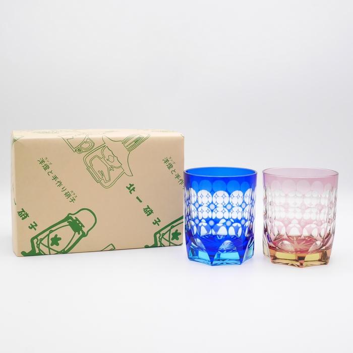小樽切子 珠玉特大杯 紺・茜ペア (木箱付)