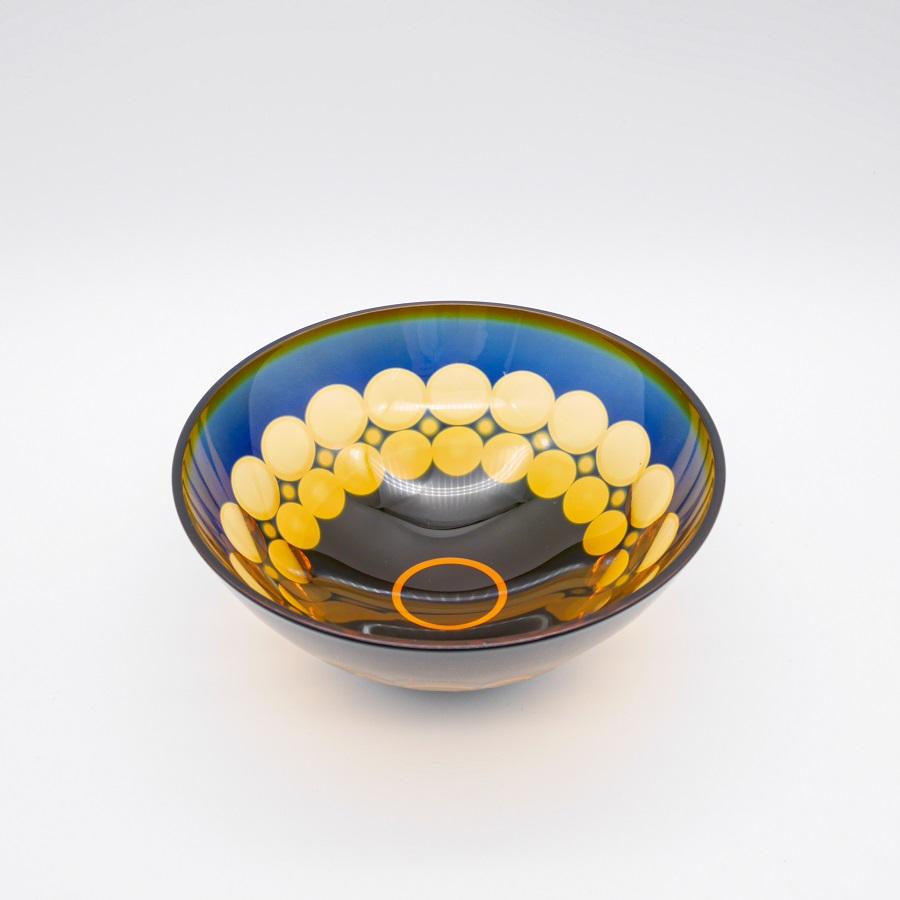 小樽切子 珠玉 天開中鉢 (木箱付き)