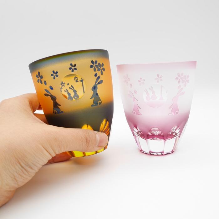 春限定 月見うさぎ万華鏡万能グラス 運河桜