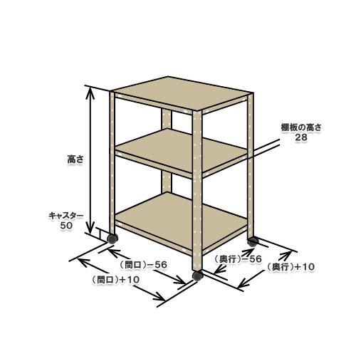 【送料無料】<br>NBLK-2640 3段<br>幅60×奥行40×高さ81cm<br>【スチールラックのキタジマ】<br>