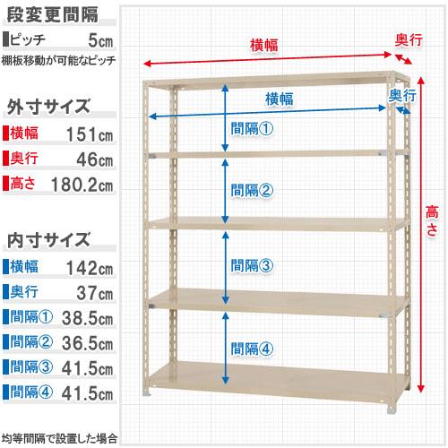 【送料無料】<br>力量-3 5段<br>幅150×奥行45×高さ180cm<br>【スチールラックのキタジマ】<br>