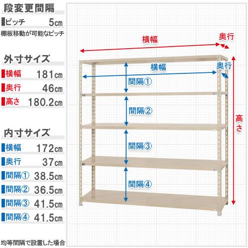 【送料無料】<br>力量-4-18 5段<br>幅180×奥行45×高さ180cm<br>【スチールラックのキタジマ】<br>