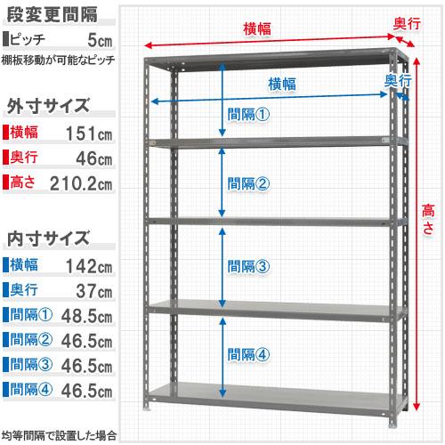 【送料無料】<br>力量-3-21 5段<br>幅150×奥行45×高さ210cm<br>【スチールラックのキタジマ】<br>