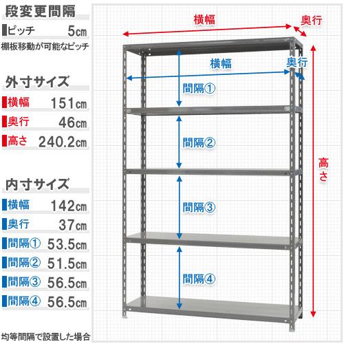 【送料無料】<br>力量-3-24 5段<br>幅150×奥行45×高さ240cm<br>【スチールラックのキタジマ】<br>