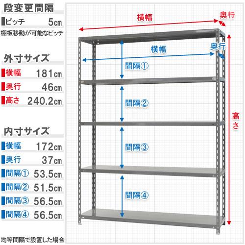 【送料無料】<br>力量-4-24 5段<br>幅180×奥行45×高さ240cm<br>【スチールラックのキタジマ】<br>