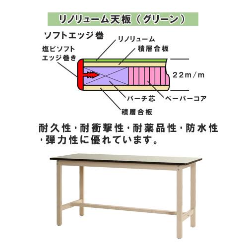 【送料無料】<br>作業台 リノリューム天板<br>幅150×奥行90×高さ74cm<br>【スチールラックのキタジマ】<br>
