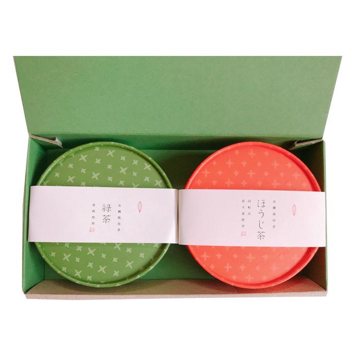 緑茶とほうじ茶丸型2種詰め合わせ