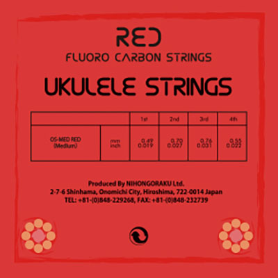 【ORCAS】OS-MED RED ウクレレ弦(High-Gセット/レッドフロロカーボン)※ネコポス可