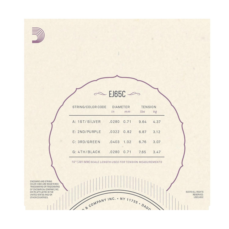 【D'addario】EJ65C ウクレレ弦(コンサート用/High-Gセット/クリアナイロン)※ネコポス可