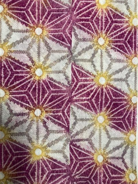 有松絞り お仕立て上り ゆかた 麻の葉柄 赤紫
