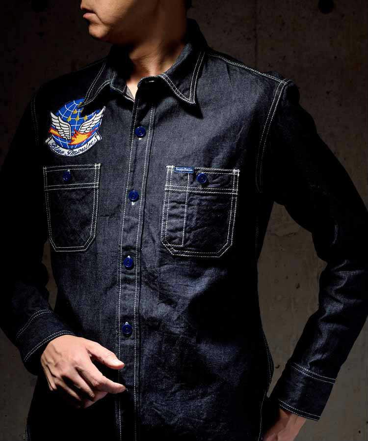 【TDS-BI01】 倉敷天領デニム×ブルーインパルス TENRYO DENIM×BLUE IMPULSE 10ozデニム オリジナルワークシャツ 「スタークロス STAR CROSS」