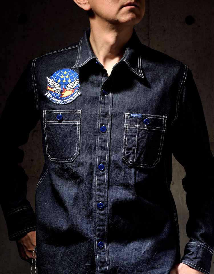 【TDS-BI02】 倉敷天領デニム×ブルーインパルス TENRYO DENIM×BLUE IMPULSE 10ozデニム オリジナルワークシャツ 「バーティカルキューピッド VERTICAL CUPID」