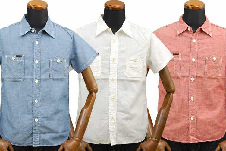【SGS2001】 ストライクゴールド The Strike Gold セルビッチコットンリネン半袖ワークシャツ