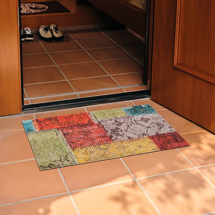 玄関マット wash+dry(ウォッシュ アンド ドライ) Vintage Patches 50×75cm