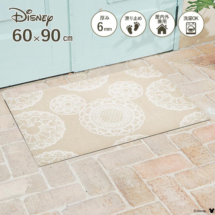 玄関マット ディズニー Mickey/ミッキー レース ベージュ 60×90cm