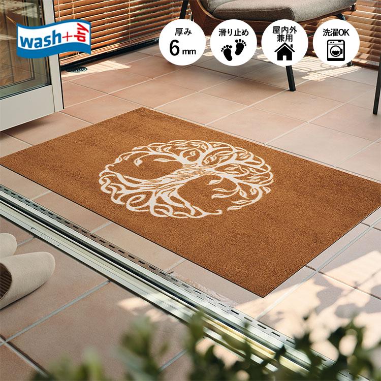 玄関マット wash+dry(ウォッシュ アンド ドライ) Tree of Life Brown 75×120cm