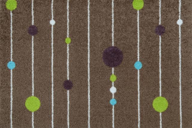 玄関マット wash+dry(ウォッシュ アンド ドライ) Circles on Lines Brown 50×75cm