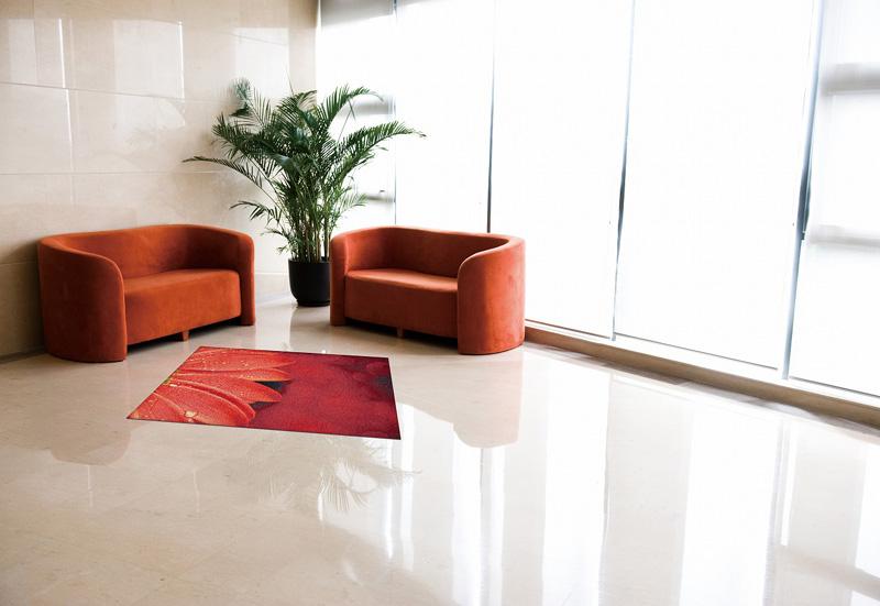 玄関マット オフィス用マット Office & Decor Red Floral / レッドフローラル  120×160cm