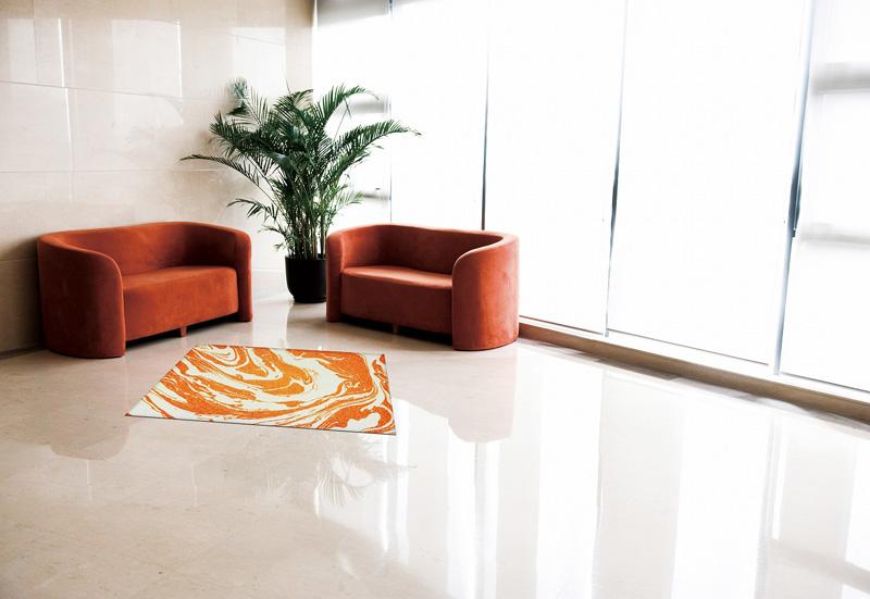 【受注生産】玄関マット オフィス用マット Office & Decor Orange marble / オレンジマーブル 120×160cm