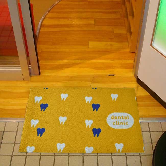 玄関マット Dental Clinic Yellow 60×90cm