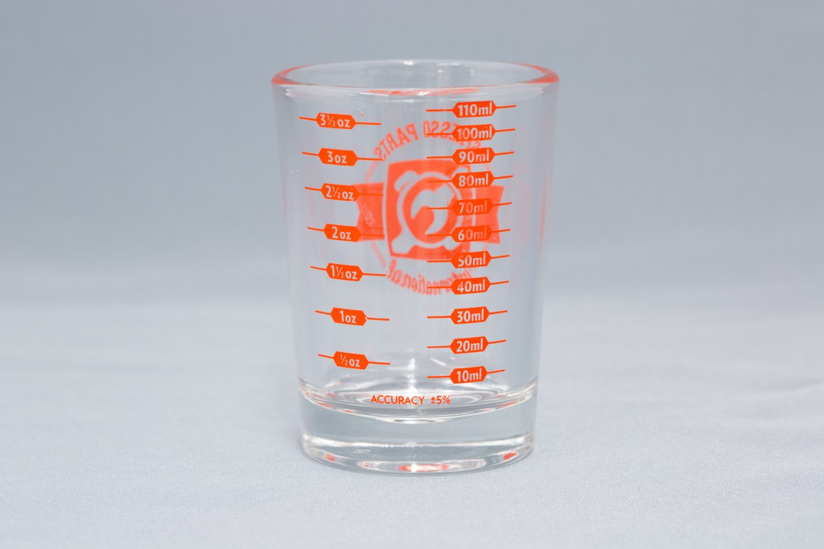 ショットグラス エスプレッソパーツ 4ozショットグラス赤色ロゴ入り