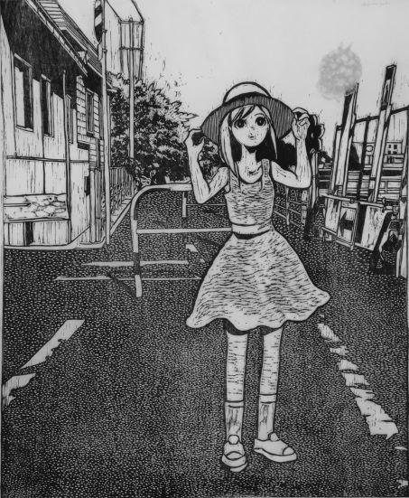 版画 : 奥山庸子「未確認飛行ホットケーキ」