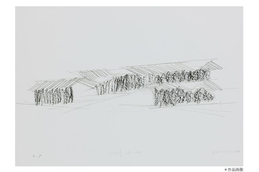 建築家 隈研吾作品  オリジナル版画                 「野鳥の森山荘/Roof Birds」