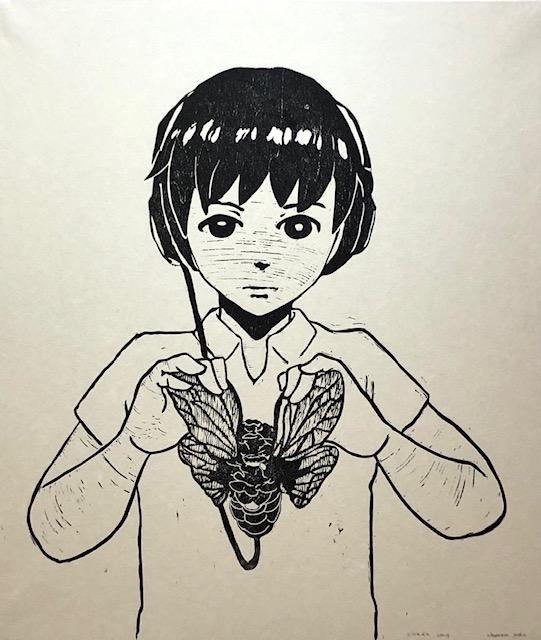 版画 : 奥山庸子「cicada song」