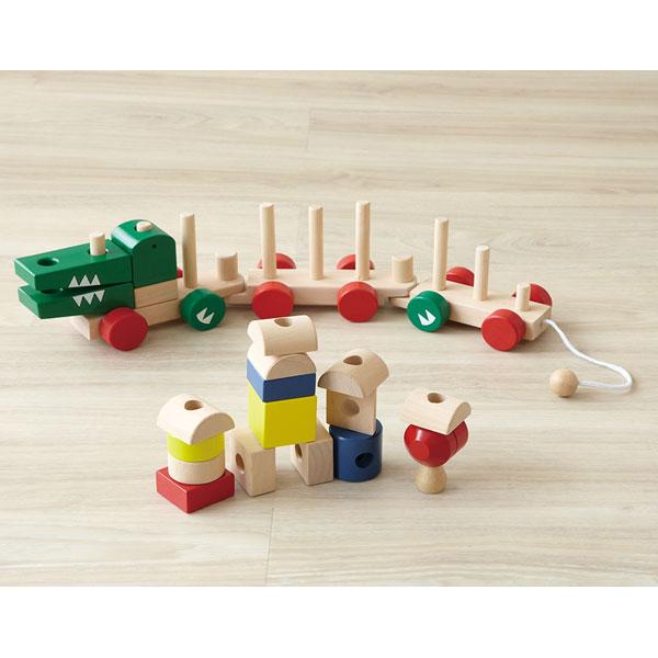 ワニさんの汽車つみき つみきあそび 木のおもちゃ 木製玩具