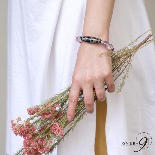 【泥に染まらず美しく咲く…◆紅朱砂◆水蓮花天珠 ブレス】【メール便不可】
