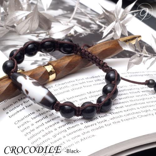 【CROCODILE -BLACK- 老礦石珠 4A至純天珠 弁才天天珠 ブレスレット】【メール便不可】