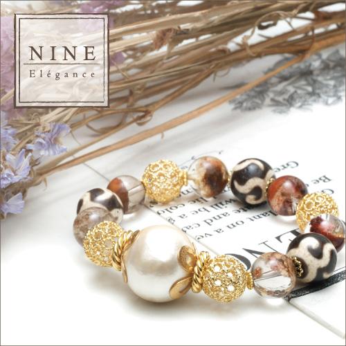 【豊かさと華やかさを欲しいままに〜老礦 金銭釣天珠ブレスレット〜 NINE-Elegance-premium】