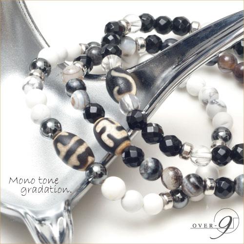 【3連ブレスレット 〜Mono tone gradation〜】7種類の黒竜紋天珠から選べるブレスレット【メール便不可】