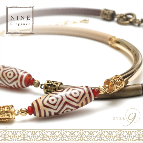 -Oriental beauty- 王と呼ぶにふさわしい優雅さと豊かさ 紅玉髄 龍眼天珠レザーチョーカー