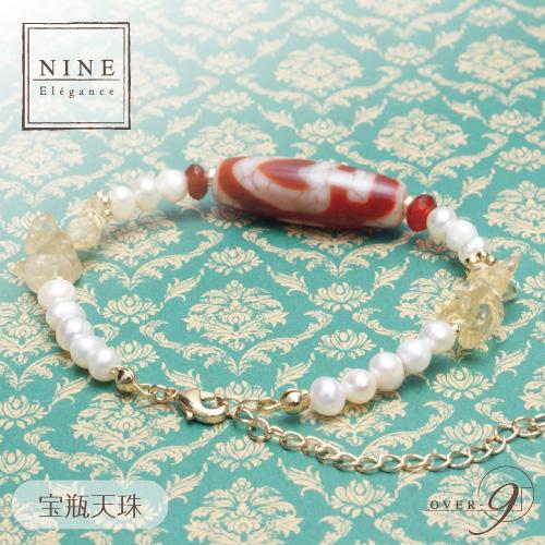 朱砂老礦石天珠×淡水パールブレスレット NINE-Elegance-