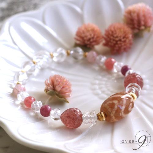 【Strawberry parfait -紅竜紋 水紋山形天珠ブレスレット-】【メール便不可】