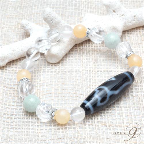 【セミオーダーブレスレット】 翡翠 × アラゴナイト ※この商品と一緒に天珠単品をお買い求めくださいませ。