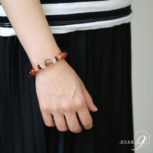 【紅緋色の宝珠 -Scarlet- 朱砂老礦石 九眼天珠 ブレスレット】